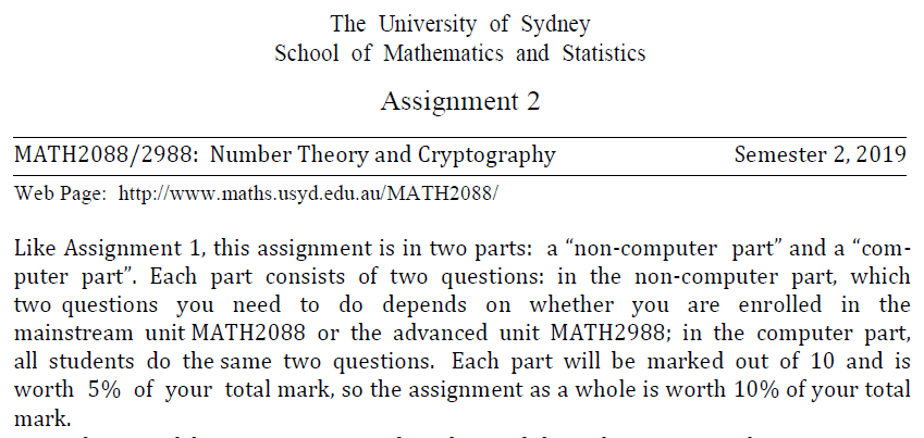 Number Theory and Cryptography Assignments